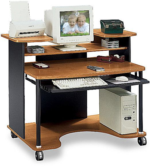 Gentil Bush MM80502 Personal Computer Station, Jagger Collection, Natural Cherry  Finish, Raised Side Platforms For Office Equipment, ...