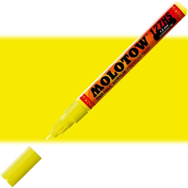 Molotow 127429 Crossover Tip Acrylic Pump Marker, 1.5mm, Neon Yellow Fluorescent; Premium, versatile acrylic-based hybrid paint markers that work on almost any surface for all techniques; Patented capillary system for the perfect paint flow coupled with the Flowmaster pump valve for active paint flow control makes these markers stand out against other brands; EAN 4250397610191 (MOLOTOW127429 MOLOTOW 127429 M127429 ACRYLIC MARKER 1.5mm NEON YELLOW FLUORESCENT)