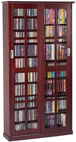 Leslie Dame MS 700DC Glass Sliding 2 Door Multi Media Storage Cabinet Dark  Cherry, 700 CDs Or 336 DVDs Or 196 VHS Videocassettes Or Any Combination Of  These ...