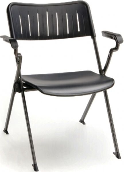 OFM 309-P-BLK Stanza Nesting Plastic Stack Chair with arms, 20.25