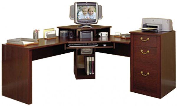 O Sullivan 10582 Workcenter Cherrywood Estates Vogue Cherry Digital Dock Includes The 3 Drawer File Cabinet On Right Side