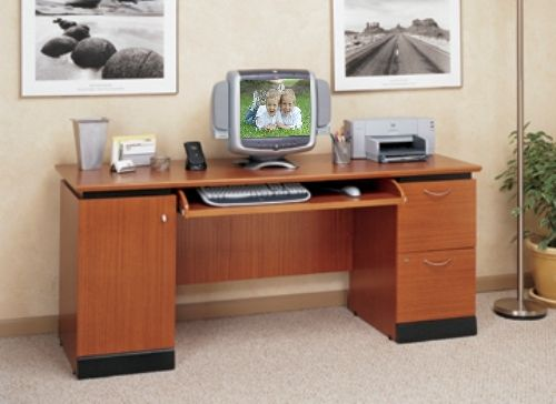 Ou0027Sullivan 11427 Computer Credenza, McCormick Collection, Finished In  Lancaster Cherry And Rose Granite Laminate, Enclosed CPU ...