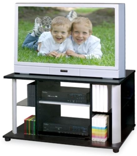 O Sullivan 20955 Tv Vcr Stand Collection Electronic Furniture Finished In Rose Granite Brushed Nickel Laminates