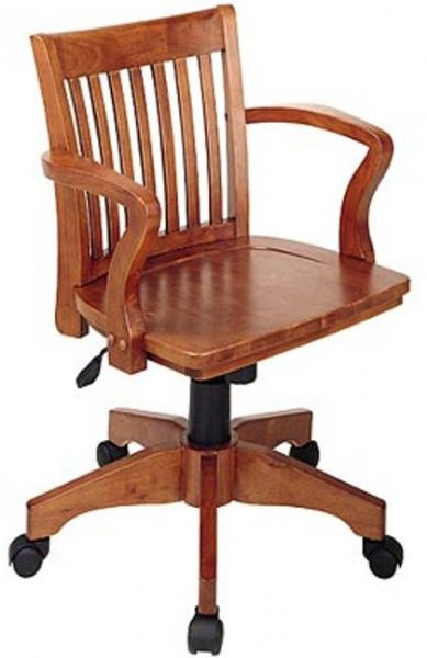 Office Star 105 Deluxe Wood Bankers Chair With Wood Seat Pneumatic Seat Heig