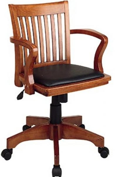 Office Star108 Deluxe Wood Bankers Chair With Vinyl Padded