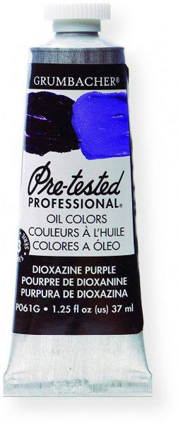 Grumbacher P061G Pre Tested Artists Oil Color Paint 37ml Dioxazine Purple; The rich, creamy texture combined with a wide range of vibrant colors make these paints a favorite among instructors and professionals; Each color is comprised of pure pigments and refined linseed oil, tested several times throughout the manufacturing process; UPC 014173352989 (P061G GBP061GB OIL-P061G ARTISTS-P061G GRUMBACHERP061G GRUMBACHER-P061G)