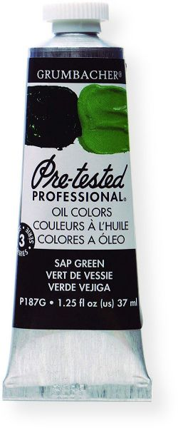 Grumbacher P187G Pre Tested Artists Oil Color Paint 37ml Sap Green; The rich, creamy texture combined with a wide range of vibrant colors make these paints a favorite among instructors and professionals; Each color is comprised of pure pigments and refined linseed oil, tested several times throughout the manufacturing process; UPC 014173353368 (P187G GBP187GB OIL-P187G ARTISTS-P187G GRUMBACHERP187G GRUMBACHER-P187G)
