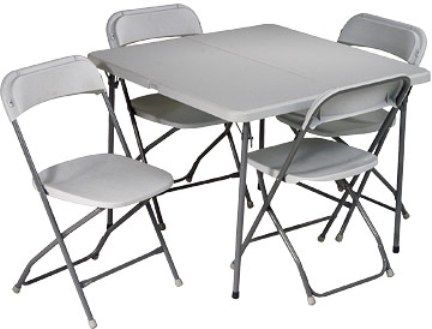 Office Star PCT-05 Folding Resin Card Table Set, 5 Piece, 1 1/2