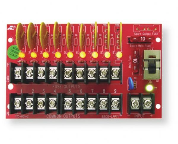 Seco-Larm PD-9PSQ Power Distribution Board with 9 Outputs, 5 Amps Total, 1.1 Amps each, PTC Fuses, Red; UPC 676544013082; (SECOLARMPD9PSQ SECOLARM PD-9P-SQ SECOLARM PD9P-SQ SECOLARM PD 9P SQ SECOLARM PD9PSQ SECOLARM PD/9P/SQ)