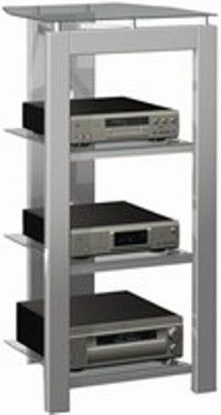 Tech Craft Phr48 Silver Audio Video Rack Tempered Glass Shelves