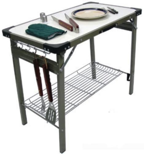 Premier 710 Portable Aluminum Fold Up Table With Built In Carrying Handle,  Made From Durable Aluminum, Metal And Plastic, Wire Mesh Shelf Included, ...