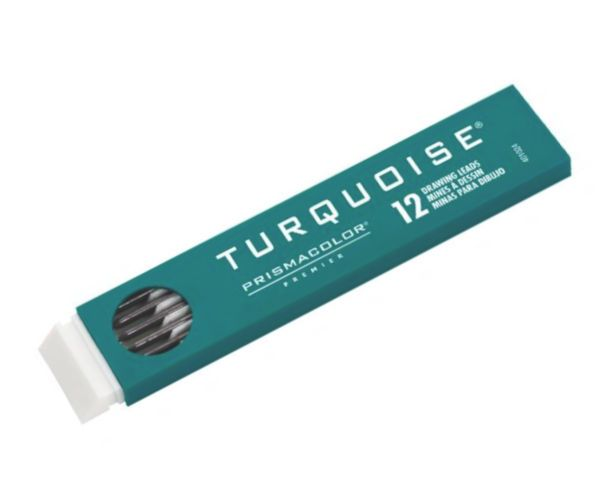 Prismacolor E2375-9H Turquoise 2mm Lead 9H, 12 Counts; Made of pure crystalline graphite and super refined clay for professional drawing and reproduction; Contains 12 leads; 51⁄8
