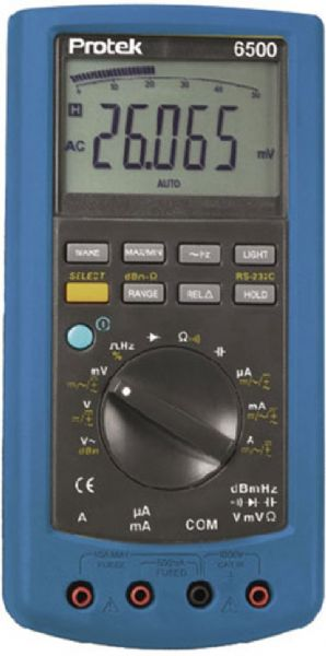 Protek 6500 Count Multimeter, 50,000 count and 50 segment bar graph backlit display, Basic DC accuracy is �0.03%, RS232 interface with software and cable, dBm measurement with 4W to 1200W reference resistances, AC and (AC+DC) TRUE RMS measurement, Measures frequency, Duty cycle and Capacitance, Cat III 1000V, Max/Min and Relative measurements (PROTEK6500 PROTEK-6500 PROTEK 6500)