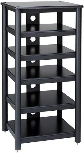 "Video Component Rack, 24"" Wide 6 Shelf Performance Series, Black Wood ..."