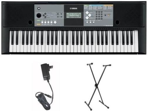 Yamaha PSR-E233MSH Portable Keyboard with AC Adapter & Stand