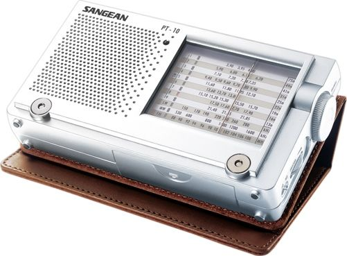 Sangean PT-10 AM/FM Stereo/LW/SW World Travel Radio, Analog Tuned with Tuning LED, Rotary Tuning Control, Large Readable Face, 1-9 World Receiver, Stereo Headphone Jack, Butter-soft Handcrafted Leather Case, DC Jack to connect AC power adaptor (PT10 PT 10)