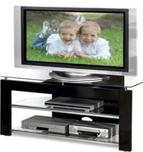 Tech Craft Ptv483b Tv Stand With Tempered Glass Shelves Replaced