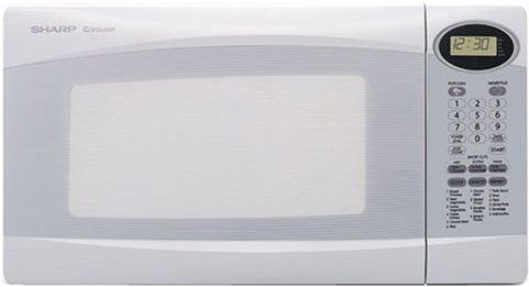 Sharp R 308kw Mid Size Microwave Oven With 1 100 Cooking Watts Auto Touch Controls White Color 0 Cu Ft Capacity 1100 Output
