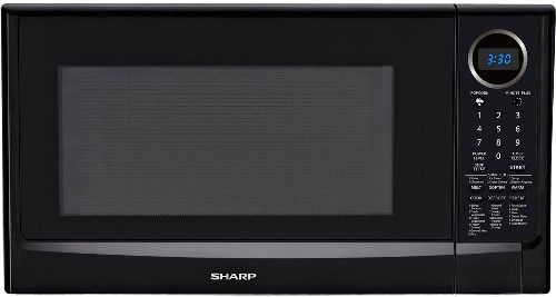 Sharp R 403tkc Family Size Countertop Microwave Oven Smooth Black 1 4 Cu Ft Capacity 1100 Watts Of Output And 11 Cooking Levels