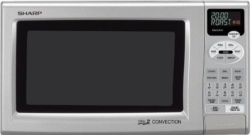 Sharp R 820js Refurbished Convection Microwave Oven Silver 0 9 Cu Ft Capacity 12 3 4 Inch