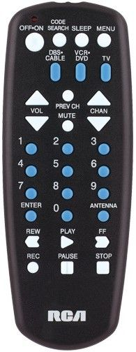 RCA RCU403N Universal 3 Device Remote Control, Controls TV, SAT, cable, DVD and VCR, Easy to use channel and volume keys, Code search key launches automatic code search, Simple device setup with automatic brand, manual and direct code search methods, Easy to use channel (RCU-403N RCU 403N RCU403)