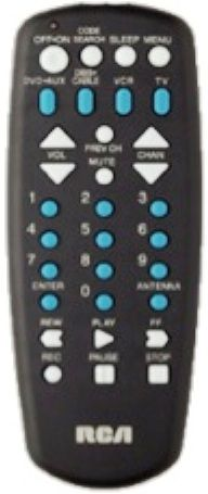 RCA RCU404N model RCU404 Universal Remote with 4 Function, Program for Satellite or Cable Box, TV, VCR and DVD-Direct Entry Method, Code Retrieval and Search Methods, Sleep Feature, Using On-screen Menus, Universal DBS codes, Extensive Code Library, Menu key, Easy-to-use channel and volume keys, Palm-size comfort for holding (RCU-404N RCU-404 RCU 404 RCU404)