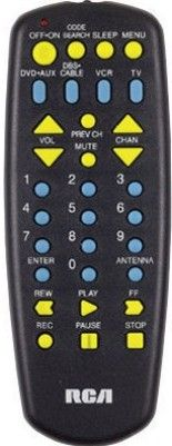 RCA RCU704SP2 Four Device Universal Remote Control, Requires 2 AAA alkaline batteries, Code search, Controls TV, VCR, DVD, DBS cable and AUX, Menu function key, Sleep feature (RCU-704SP2 RCU 704SP2)