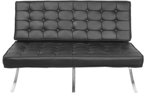 regency 7102bk model princeton barcelona tuffed leather loveseat black tufted seat and back chromed steel frame genuine leather upholstery - Black Leather Loveseat