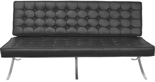 Regency 7103bk Model 7103 Princeton Barcelona Tuffed Leather Sofa Black Tufted Seat And Back Chromed Steel Frame Genuine Upholstery