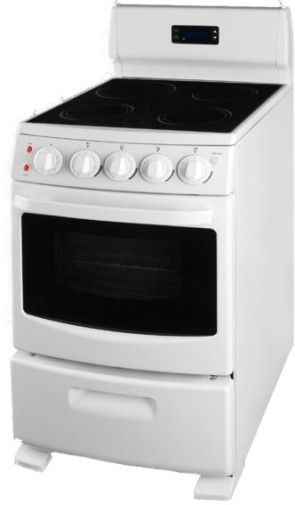summit rex204w electric range 20 inch white with black glass window large oven. Black Bedroom Furniture Sets. Home Design Ideas