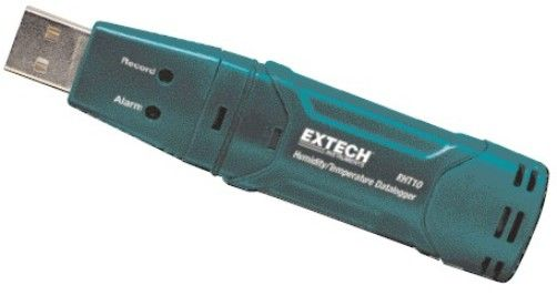 Extech RHT10 Humidity and Temperature USB Datalogger, Datalogs 32,000 readings (16,000 for each parameter: Humidity/Temperature), Dew point indication via Windows software (included), User-programmable alarm thresholds for RH and Temperature, Status Indication via Red/Yellow LED and Green LED, UPC 793950440100 (RHT-10 RHT 10)
