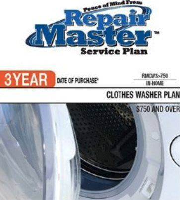 RepairMaster RMCW3U750 3-Year Clothes Washers Service Plan Under $750, UPC 720150603288 (RMC-W3U750 RMCW-3U750 RMCW 3U750 RMCW3 U750)