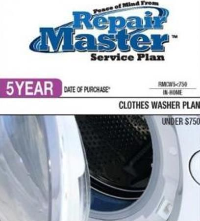 RepairMaster RMCW5U750 5-Year Clothes Washers Service Plan Under $750, UPC 720150603349 (RMC-W5U750 RMCW-5U750 RMCW 5U750 RMCW5 U750)