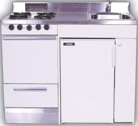 Acme Kitchenettes ROE9Y 48 Compact Kitchen With Stainless Steel Countertop,  4 Electric Burners,