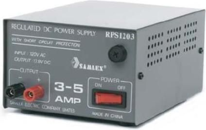 Samlex RPS-1207 AC-DC Linear Power Supplies, 7-10 Amp Power Supply, 120Vac  Input Voltage, 13.8Vdc Output Voltage, 2A  Fuse Rating, Short circuit and over voltage protection, Output power rated at maximum service, Binding post output terminals, Precision regulation of output voltage, Low peak-peak ripple of less than 10 mv, External fuse access (RPS 1207 RPS1207)