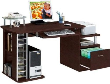 Techni Mobili Rta 2202 Wide Computer Desk Mdf Construction With Durable Laminate Finish Letter Size File Drawer Side Shelving Pull Out Keyboard Tray