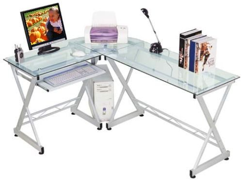 Techni Mobili RTA-3802 Tempered Glass Computer Desk, This unique piece lets  you work on the high-tech resistant tempered glass desk while working on  your ...