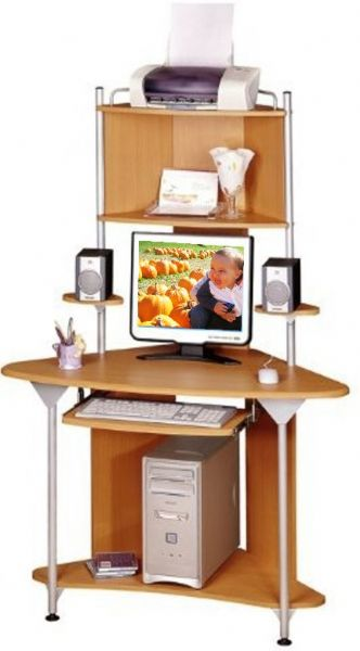 Techni mobili rta 5009 corner computer desk features a pull out keyboard shelf with safety stop - Corner desks with shelves ...