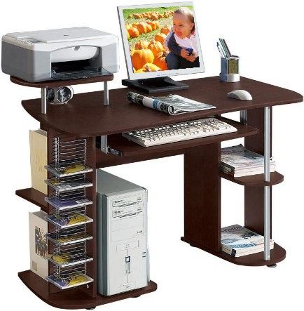 Techni Mobili RTA 8104 Nevada Computer Desk, MDF Construction With Durable  Laminate Finish, Pull Out Keyboard Tray, Vertical CD Storage, Raised  Printer ...