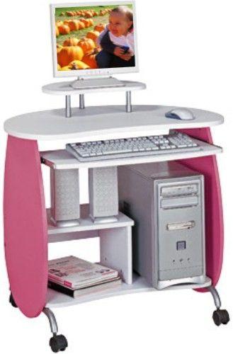 Techni Mobili RTA-Q203PW Kid's Pink and White Compact Computer Desk