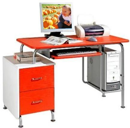 Techni Mobili Rta Q328 Rw Red And White Two Tone Computer Desk Powder Coated Steel Frame Mdf With Durable Laminate Finish Pull Out Keyboard Tray