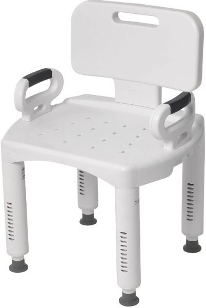 Drive Medical RTL12505 Premium Series Shower Chair with Back and Arms, 16.5
