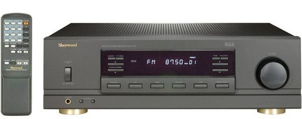 Sherwood RX-4105 Remote Controlled Stereo Receiver, 100 Watts per Channel x 2 in Stereo Mode with less than 0.08% THD, 20 Hz-20 kHz, 8 Ohms, 25-Key Unified Remote Control, Switching for two pairs of loudspeakers, 5 Audio Inputs including Tuner (RX4105 RX 4105 93279441766)