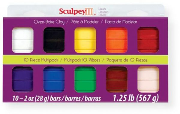 Sculpey S3MP 0000-1 III Polymer Clay Multipack Classic; Sculpey III is soft and ready to use right from the package; Stays soft until baked, start a project and put it away until you are ready to work again, and it wont dry out; Bakes in the oven in minutes; UPC 715891116111 (SMP00001 S3MP-0000-1 S3MP00001 CLAY-S3MP-0000-1 SCULPLEYS3MP0000-1 SCULPEY-S3MP0000-1)