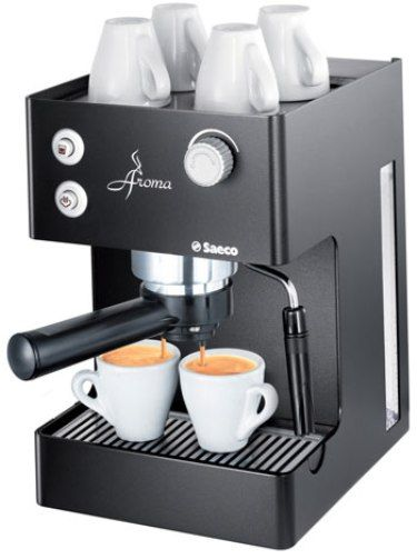 Saeco 00347 Aroma Traditional Household Espresso Coffee Machine, Black, Pannarello Frothing Device, Hot Water Dispenser, Cup Warming Surface, Removable water tank 2.5Lt capacity, 15 Bar Pump Pressure, 950 Watts Power, Stainless Steel Boiler, Metal Housing Cover, Metal Machine Housing, Dimensions (wxdxh) 200 x 310 x 300 mm, Weight 5.7 kg (SAECO00347 SAECO-00347)