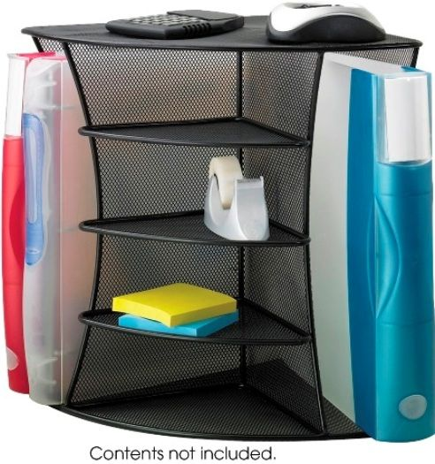 Safco 3261bl onyx mesh desk corner organizer organize for Construction organizer notebook