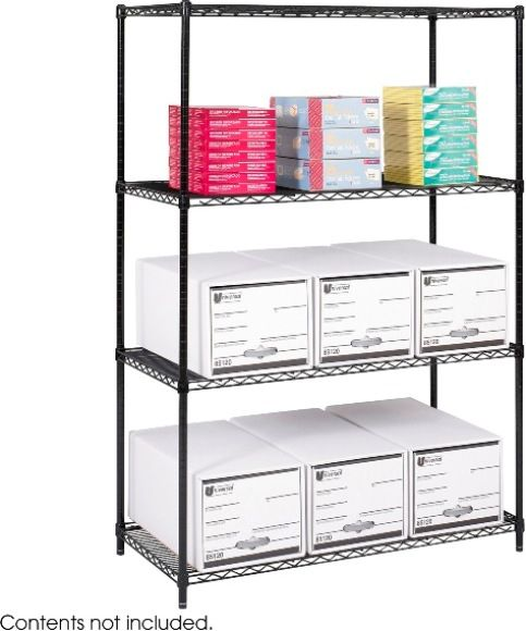 safco 5294bl industrial wire shelving 800 lbs per shelf. Black Bedroom Furniture Sets. Home Design Ideas
