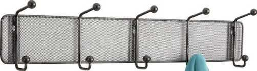 Safco 6403BL Onyx Mesh Wall Rack 5 Hook, Mesh back panel, Double-hook style, Round hook tips, Black powder construction, Mounting hardware, Steel and steel mesh construction, Set of 6, Black Color, Metal Material, UPC 073555640328 (6403BL 6403-BL 6403 BL SAFCO6403BL SAFCO-6403-BL SAFCO 6403 BL)