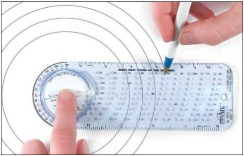 Safe-T 46110 mmArc Protractor Compass Plus, 15.8 cm long, Made of Clear Plastic with Bluish Hue, Semicircular side with rotating disc inset on one edge, Spinning & Accurate Protractor revolves easily within a groove, Creates Circles from 10mm radius to 120mm radius on 1mm radius increments, Allows direct view of vertex points, UPC 743118461102 (SAFET46110 SAFET-46110 46-110 461-10)