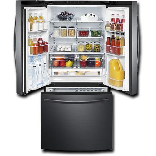Samsung RF220NCTASG Freestanding French Door Refrigerator With 21.8 cu.ft. Total Capacity, 5 Glass Shelves, 7.0 cu.ft. Freezer Capacity, Crisper Drawer, Automatic Defrost, Ice Maker, In Black Stainless Steel, 30